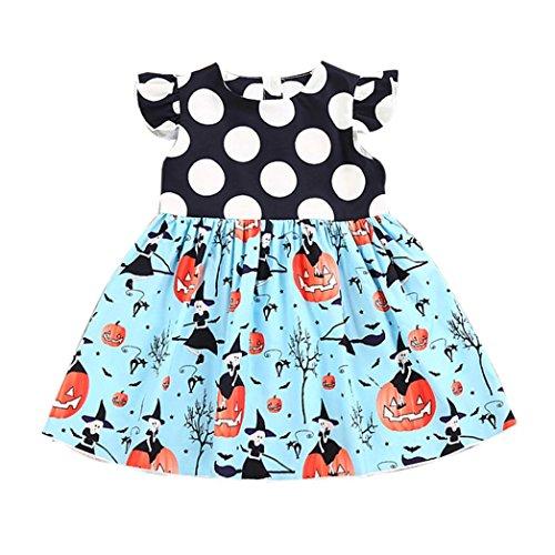 Mädchen Prinzessin Kleid, yoyoug Kleinkind Kids Baby Mädchen Halloween Kürbis Cartoon Prinzessin Kleid Outfits Kleidung (Halloween 4 Personen / Kostüme)