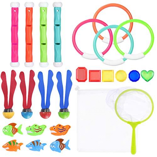 Toyvian Tauchen Spielzeug Unterwasser Pool Tauchspielzeug Set -Tauchringe, Tauchstöcke, Wasserwürfelbälle, Tauchen Edelsteine, Angeln Spielzeug Kit Lagerung Net Schwimmspielzeug für Kinder - Edge Kindersicher