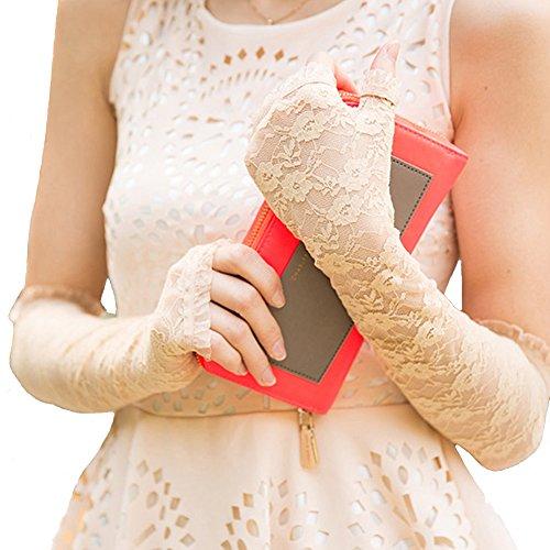 nappaglo frauen lange spitzen fingerless handschuhe vintage - blumen für den sommer uv - schutz hochzeit fahren (cremig (Lang Handschuhe Gelbe)