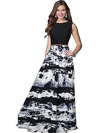 Royal Export Women's A-Line Maxi Dress (G26-XS_Blue_X-Small)