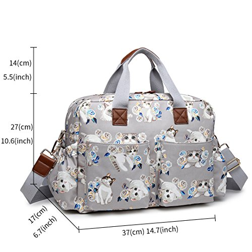 Miss Lulu 4PCS Vogel Blume Muster Baby Windel Windel Wickeltasche Set große Schulter Handtasche Wachstuch Tote 1501-17CT Grey