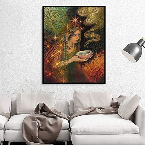 Mode Salbei (yhyxll Salbei Göttin Print Pagan Mythologie Psychedelische Böhmische Zigeunerhexe Göttin Kunstdruck Und Poster Leinwand Malerei Bild 60X80 cm)