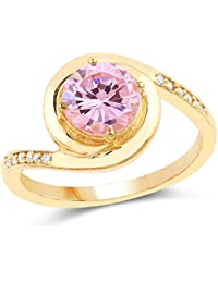 Johareez Gold Plated Contemporary Pink Solitaire Cubic Zirconia Ring For Women