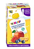 Hipp Frucht & Getreide im Quetschbeutel für Baby, Erdbeere-Heidelbeere in Apfel & Babykeks, 4er Pack (4 x 90 g)