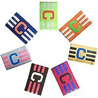 Adesugata fútbol Capitán brazalete, Fútbol brazalete elástico, Velcro para, tamaño ajustable, apto para varios deportes como el fútbol y RUGBY (7 piezas)