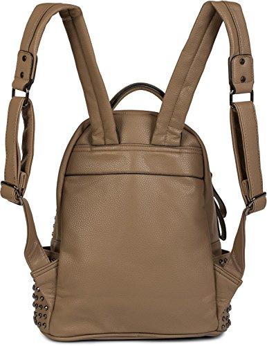 styleBREAKER Rucksack Handtasche mit Nieten, Reißverschluss, Tasche, Damen 02012226, Farbe:Midnight-Blue Braun