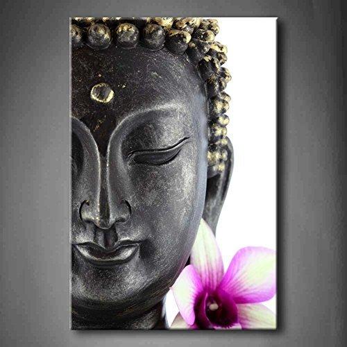 Lila Buddha Statue Mit Weiß Und Lila Blume Wandkunst Malerei Das Bild Druck Auf Leinwand Blume Kunstwerk Bilder Für Zuhause Büro Moderne Dekoration (Lila Und Weiß-malerei)