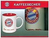 FC Bayern München Tasse Mia San Mia | Bayern Fanartikel Kaffeebecher 350ml | FCB Becher mit Logo (Weiß/Rot)
