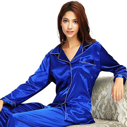 Damen Seide Pyjama Set Schlafanzug Invy 3XL (Satin Hosen Seide)