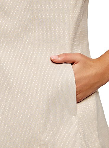 oodji Ultra Damen Klassische Weste aus Strukturiertem Stoff Beige (3320D)