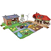 Majorette 212050009 Creatix Big Farm Farmyard Play Set with 3 Vehicles and 2 Anhägern, Tractor, Combine Harvester, Wooden Charger, Die Cast