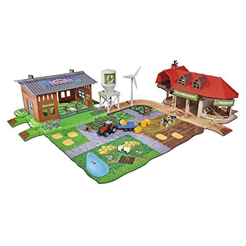 Majorette 212050009 Creatix Big Farm Set, Bauernhof-Spielset inklusiv 3 Fahrzeugen und 2 Anhägern, Traktor, Mähdrescher, Holzlader, Die-Cast - Cast Fahrzeuge Die