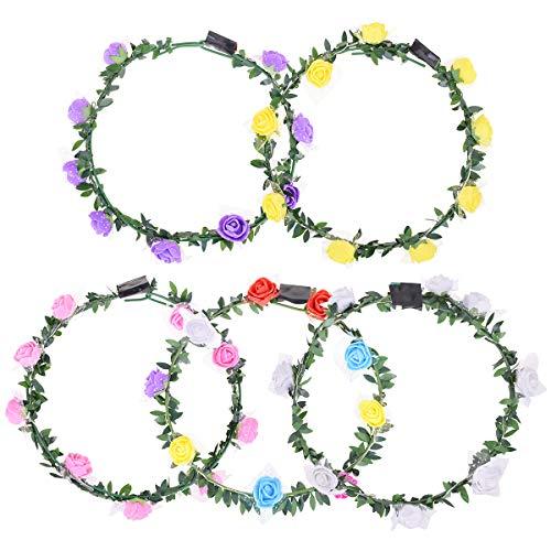 X-Mile 5 PCS LED Blumenkranz Garland Stirnband Dekorative Haarband Glühender Kranz Boho Garland Crown Hawaiikette Für Hochzeit Geburtstagsfeier 18 x 18 x 2 cm