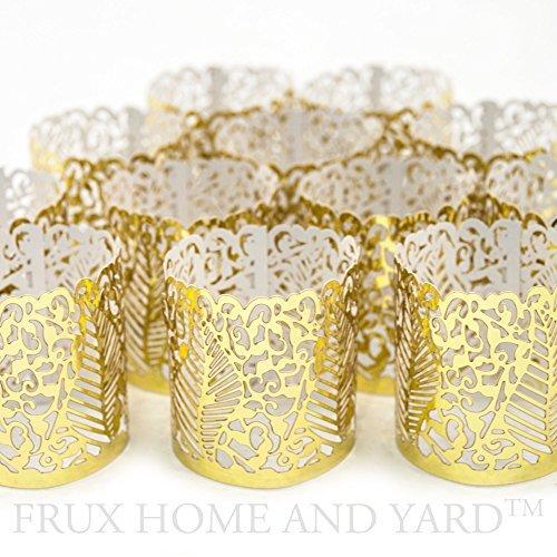 Gold Votiv-kerze (Led Papier Votiv Kerzenständer Teelichthalter 48 Gold Farbige Dekorative Kerzenhalter/Halter für Flammenlose Teelichter und Votivkerzen)