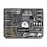 Makita Einlage für Schubladenkoffer + 59 teiliges Set, Bohrer + Bits, Maßband, Cuttermesser und Bitschrauber