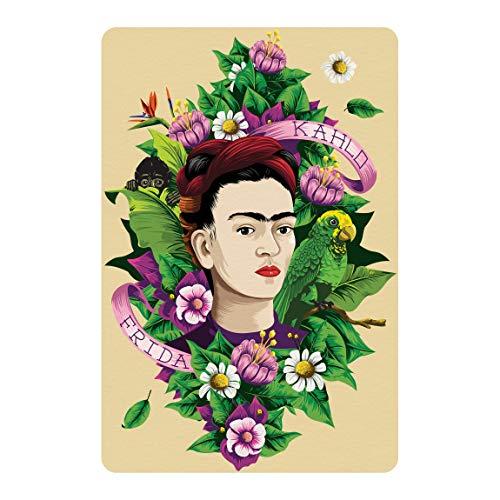 Bilderwelten Selbstklebendes Wandbild Folie Frida Kahlo Frida, Äffchen und Papagei 81 x 54cm