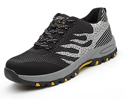 Tqgold uomo donna scarpe da lavoro scarpe antinfortunistiche con punta in acciaio scarpe sportive di sicurezza (nero,46 eu)