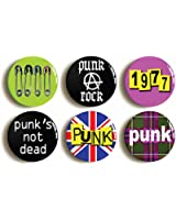 "6 x ""PUNK ROCK"" RETRO FANCY DRESS PARTY BADGES BUTTONS PINS (1inch/25mm diameter)"