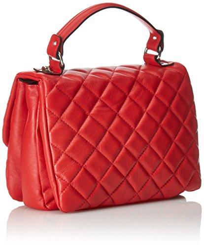 CTM Borsa elegante a mano da donna in vera pelle trapuntata made in Italy 28x20x15 Cm Rosso
