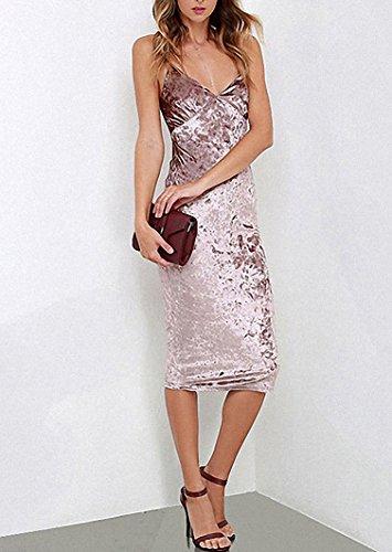 Elegant Velvet Pink Femmes Robe V-cou Robes sans manches Bodycon Spaghetti Backless Robe Rose