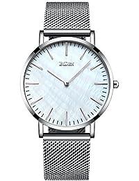Unisex para Hombre para Mujer Simple Funda Relojes Correa de Malla de la Plata Hombres Lujo Ultra Delgado Reloj de…