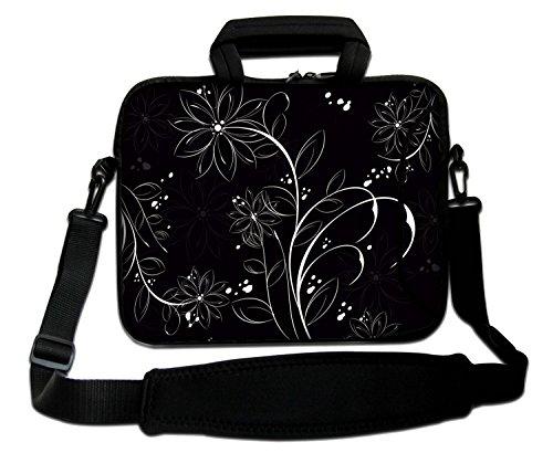 LUXBURG® 17,3 Zoll Schultertasche Notebooktasche Laptoptasche Tasche mit Tragegurt aus Neopren für Laptop / Notebook Computer - Ornament mit Blumen Schwarz & Weiß
