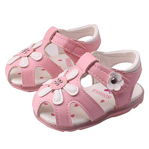 Prinzessin 5Y Hunpta 0 mit beleuchtet Rosa M盲dchen Kleinkind neue 0 Sonnenblumen Rosa Sohlen Alter weichen Sandalen Schuhe 6wYqSRw1r