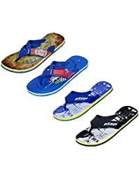 IndiWeaves Men Flip Flop House Slipper And Sandal-Blue/Black/Blue/Blue
