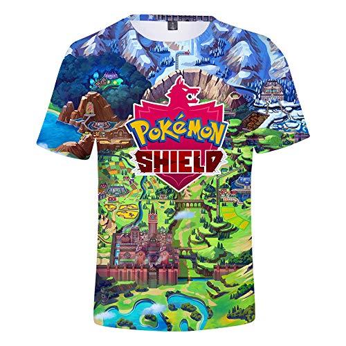 JlLianT Anime Cosplay 3D T-Shirt Rundhals Unisex Kurzarm-Shirt Pokemon Sword and Shield XXXL