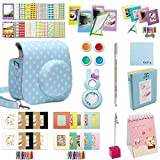 Katia Instax Mini 8 Accessories Bundles Set for Fujifilm Instax Mini 8/8+ with Case White/ Photo Albums/ Close Up Lens/ Filters/ Border Stickers/ Frame/ Cleaning Cloth/ Pen/ Photo Holder - Set9 (Blue dots)