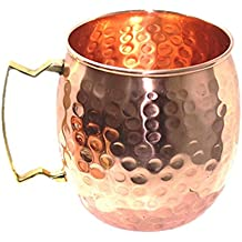 PARIJAT HANDICRAFT Handcrafted Moscow Mules Copper Mugs 100% Pure Copper Solid Moscow Mule Mug 24 Ounce Extra Large Size No Lining Hammered Finish with Brass handle