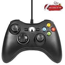 LESHP Microsoft Manette filaire Xbox 360, Filaire GamePad Controller, Manette du Contrôleur de Jeu Filaire avec Double Vibration Pour PC / Android / PS3 / TV Box (Noir)