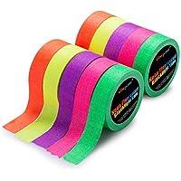Neon Klebeband [10 Rollen] Neon Gaffa Tape, UV aktiv Tape, Fluoreszierendes, Leuchtband, 5 Farben, 15MM*5M Pro Rolle