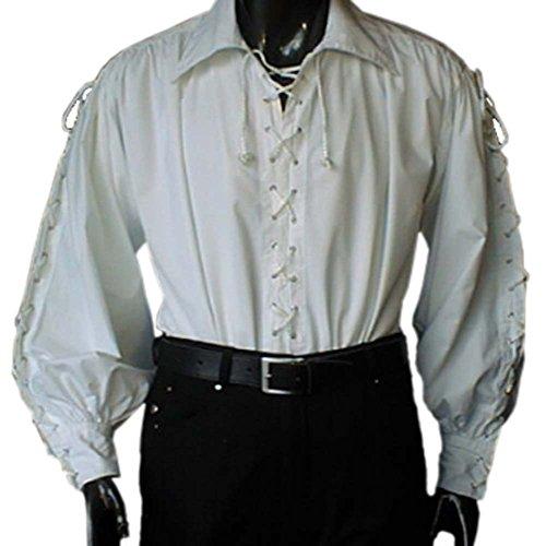Piratenhemd mit breitem Kragen Gr. XXXL Gothic weiß 495 Weiß