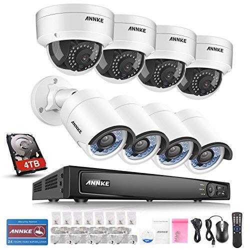 ANNKE 8CH POE NVR Überwachungssystem, 6MP Netzwerk Video Recorder + 8 * 1080P IP Überwachungsskameras mit 4TB Überwachung Festplatte, POE Plug und Play, Bewegungserkennung mit E-Mail Alarm