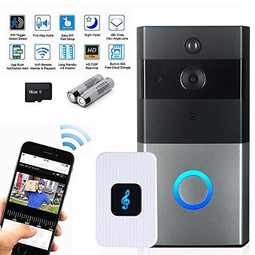 TEEPAO Smart Video Türklingel Wireless Home Security Kamera, WiFi-Türklingel, wasserdicht, 720P HD 300 m Verbindung mit 16 G Speicherkarte, 2 wiederaufladbare Akkus für iOS Android Google