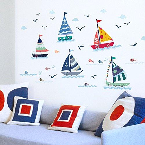 Adesivi Murali Nuvole Di Pesci Per Barche Nautiche Per Camerette Wc Frigorifero Adesivo Cucina Decorazioni Per La Casa Murales