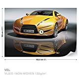 DekoShop Vlies Fototapete Tapete Vliestapete Gelbes Auto DK143VEL (152,5 x 104cm) Photo Wallpaper Mural