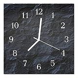 DekoGlas Glasuhr 'Hintergrund grau' Uhr aus Acrylglas, eckig große Motiv Wanduhr 30x30 cm, lautlos für Wohnzimmer & Küche