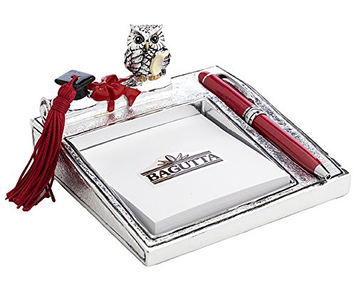 Laurea – memostick cm 12x14 con penna - con gufo grande su diploma – argentato e smaltato - bagutta con scatola rifinita