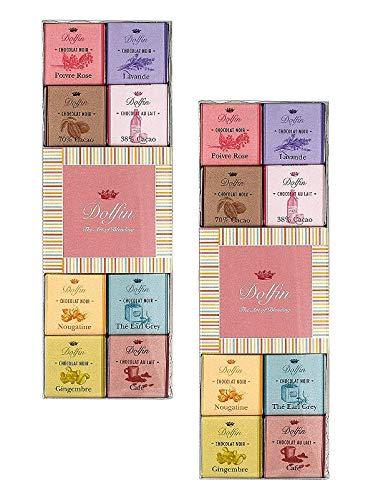 Dolfin Sortiment mit 24 Schokoladen- und Milchschokoladensorten: Rosa Pfeffer, Lavendel, 70% Kakao, 38% Kakao, Nougatine, Earl Grey Tee, Ingwer, Kaffee - 2 x 108 Gramm