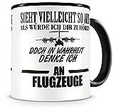 Samunshi® Ich denke an Flugzeuge Tasse Kaffeetasse Teetasse Kaffeepott Kaffeebecher Becher Nr.1: schwarz/schwarz H:95mm / D:82mm