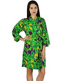 86a238dbe1 Bimba Women Green Short Cotton Robe Bride Bridesmaid Getting Ready Floral  Coverup Gift