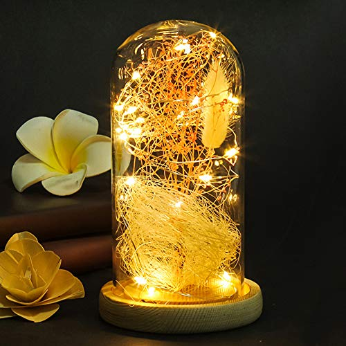 Rose LED-Lampe, Simulation Rose LED-Licht in einem klaren und langlebigen Glaskuppel aus Holz für Zuhause, Hochzeit, Party, Geburtstag, Club, Büro und mehr Free Size #6