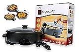 Bagonia Electric Multipurpose Cooker | Pizza Pan | Pizza Maker | 1500Watt | Extra Large 36Cm Diameter | Unbreakable Glass Lid | Black