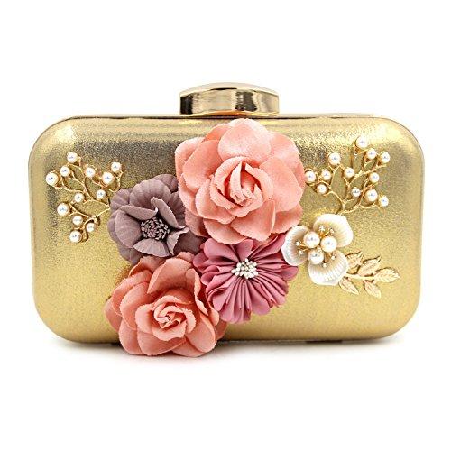 Di alta qualità diamante perla fiore in rilievo del sacchetto di sera della frizione banchetto Gold