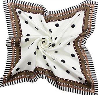 Helan femmes Réel Soie Naturelle 53cm X 53cm petits foulards de soie carrés rond point blanc