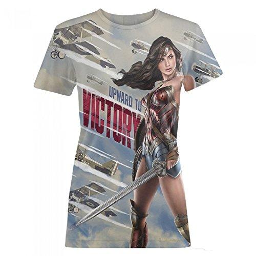 Wonder Woman Camiseta estilo propaganda bélica modelo Victory para mujer (Mediana (M)/Gris)