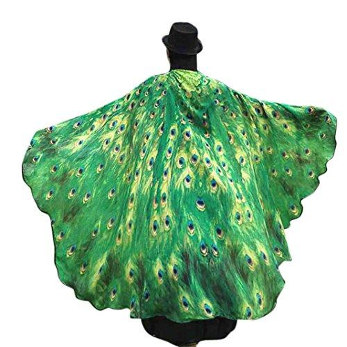 Hmeng Schmetterling Flügel Schal, Fairy Damen Nymphe Pixie Schals Schal Mehrfarbige Chiffon Wrap Kostüm Zubehör für Party oder Show (197*125CM, Grün) (Formale Wrap)