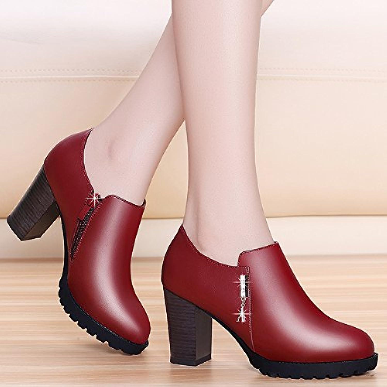 HGTYU-L'Automne Et L'Hiver 8Cm 8Cm L'Hiver Talons De Chaussures Avec Semelles Épaisses Les Chaussures De Mme Correspond Au...B078SKN5Y1Parent c90655